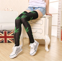 Wholesale 2016 women sockcs new fashion stockings long over knee high maple leaf socks black women stockings
