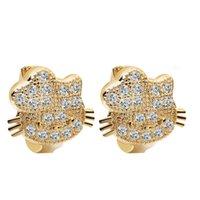 huggies - 10pcs High Quality K Gold Filled Huggies Cat Earrings Austrian Crystal Hoop KittyEarrings Beauty Jewelry A1320