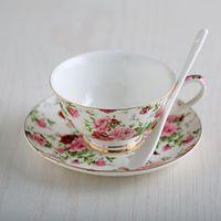 Wholesale Hot selling European Fashion Bone China Coffee Cup And Saucer Set England style Ceramic Mugs Wedding Gift Box