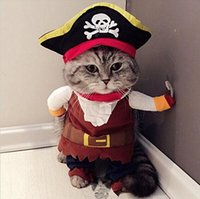 Wholesale 2016 brand new Funny Pirate Policeman style Pet Cat Costumes Uniform Suit Pets Cloth cats hat Pet Supplies for Small Cat