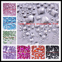 Wholesale Mix Size Clear Color Round Acrylic Loose Non Hotfix Flatback Glue On Rhinestone Gems D Nails Art Crystal Stones Decorations