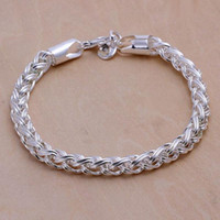 Wholesale New Fashion Women Sterling Silver Twisted Bracelet Chain Bangle Gifts