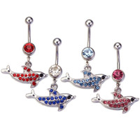belly button piercing kit - Belly Button Rings L Surgical Steel g Dolphin Dangle Navel Ring Belly Barbell Stud Button Body Piercing Kit