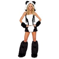 adult panda costume - Soft Faux Fur Fun Sexy Panda Bear Corset And Skirt Animal Adult Fancy Dress Halloween Easter Girls Costume L1324