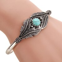 american indian navajo - Boho Open Leaf Bracelet Femme Turquoise Bangle Charm Tribal Bracelet Women Ethnic Bracelet Indian Native American Jewelry Navajo