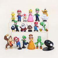 al por mayor pvc yoshi-1 juego al por menor de Mario Bros Yoshi Figura juguete dinosaurio 18PCS Super mario yoshi figuras de PVC