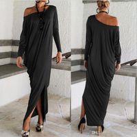 Wholesale 2016 Spring Autumn Summer Women Maxi Dresses Long Sleeves Irregular Plus Size Oversize Loose Bohemian Wrap Ladies Dresses OXL15092107