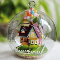 Wholesale Miniature DIY Wooden UP The Movie Inspired D Toy Doll House Voice Control LED Light Crystal Glass Ball Kids Educational Toy