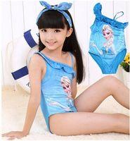 Wholesale Hot selling Children lace Gauze Swimwear frozen Elsa Anna girls Beach Swimwear Summer Princess One Piece Swimsuit