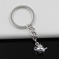 antique metal teapots - Fashion diameter mm Key Ring Metal Key Chain Keychain Jewelry Antique Silver Plated D teapot mm Pendant