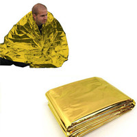 Wholesale 210 CM Emergency Blanket Survival Rescue Insulation Curtain Outdoor Camping Life saving Mat Military Gold