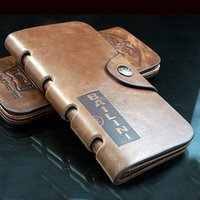 american standard window - Bailini Mens Long Bifold Wallet ID Card Slots Photo Window Note Case Genuine Leather Clutch Center Flip Cowboy Cool Purse