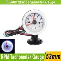 Wholesale 52mm Tachometer RPM Car Meter Gauge Pod Holder RPM Meter White LED Auto Gauge mm Universal Tachometer Car Tacometro