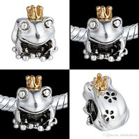 Wholesale 20 Silver Frog Prince Charm Beads K Golden Crown For Pandora Bracelets Charms DIY European Jewelry