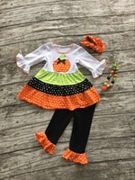 Wholesale Fall Winter girls pumpkin outfits kids Halloween pant sets Halloween clothes kids ruffle pant sets with necklace and hairhows