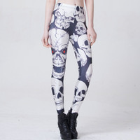 active mechanical - NEW Arrival Sexy Girl Women Christmas Halloween Mechanical Skull D Prints Running Elastic GYM Fitness Sport Leggings Yoga Pants