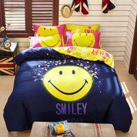 Wholesale 100 Cotton Cartoon Emoji Kids Boys Bedding sets Flat Bed linen sheet Duvet Comforter Quilt cover Pillowcases For Gift