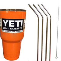 Wholesale Yeti oz Pink Rambler Tumbler Bilayer Stainless Steel Insulation oz Cup with free brend steel Drinking Straw Straws Cleaning Brush Set