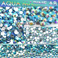 aqua marine crystal - SS4 mm Aqua Marine AB Nail Rhinestones for Nails Art Glitter Crystal Decoration Non HotFix Flat Back Rhinestone decor stones