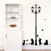 PVC animal lamps for kids rooms - 150cm High Cat and Street Lamp Wall Stickers for Kids Rooms Living Room Home Decor Wall Decor Mural Art