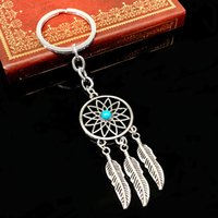 bead keychain - Hot Dream Catcher Charms key rings NEW Turquoise Beads Tree Leaf Dream Catcher Keychain Ring For Keys DIY Key Chain Gift FINE Jewelry