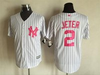 Wholesale New Baseball Jerseys Yankees Jeter Mother s Day Jersey White Pink Color Size M XXXL Mix Order All Polyester Jersey
