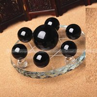 ball array - Feng Shui obsidian crystal balls Seven Star Array Exorcise Statue With Shelf F484 ffs