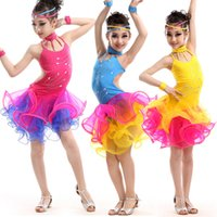 Wholesale Children Latin Rumba Tango dance Dress KIds Blue Yellow Sleeveless Multiply Hemline Stage Dress Adults Modern Dance Costume