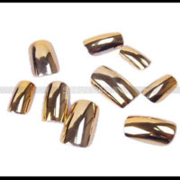 Wholesale 70pcs pack Metallic Gold Women Party Home Nail Art Acrylic False Tips Boxed Package package box box adaptor