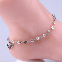 Wholesale New Vintage Designer Daisy Flower Cute Girls Plate Silver Anklets Bracelet For Women Heart Charm Ankle Chain Freeshipping