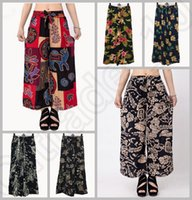Cheap LJJJ119 Hot Women Bohemian Floral Wide Leg Pants Capris Summer Casual Cotton Loose Trousers Palazzo Pants Fashion 50PCS