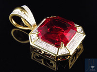 asscher cut ruby - Yellow Gold Finish Asscher Cut Royal Created Ruby quot Diamond Pendant ct
