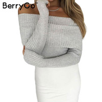 Wholesale BerryGo Off shoulder elastic winter sweater women Sexy lapel pullover Autumn bodycon pull femme basic jumpers knitwear crop top
