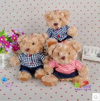 baby clothes teddy bear - 3pcs cm High Quality Kawaii Cute Lovely Teddy Bear Clothes Plaid Plush Toys Stuffed Dolls Wedding Baby Toy Baby Gift