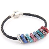 Wholesale Mixed colors silver beads flat charms with crystal rhinestones for Pandora bracelets fine jewelry