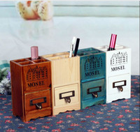 Wholesale Zakka Drawer Size cm Quality Wooden Household Pen Pencil Storage Bins Organizer Box Container Vase Case Pot
