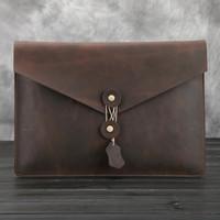 Wholesale men bags New Vintage Crazy Horse Genuine Leather Men Classic Envelope Daily Clutch Bag Business File Document Bags Briefcase cm