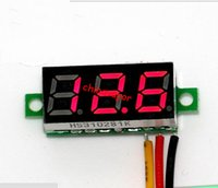 Wholesale USA Three Wire quot V LED Mini Digital Voltage Meter Cables Digital Blue LED Display Voltage Panel Motor voltmeter