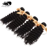 Wholesale A Grade Mixed Lengths inch Deep Wave Brazilian Virgin Human Hair Extensions Natural Color Can Be Dyed
