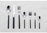 Wholesale Continental black handle knife and fork spoon knife and fork pure stainless steel cutlery set black handle series