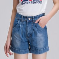Wholesale New European And American Retro High Waist Denim Shorts Female Curling Plus Size