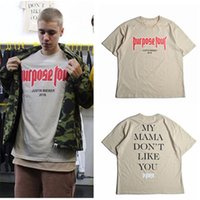 Wholesale cool Justin Biebe shirt Justin Bieber Purpose Tour Fashion Hip Hop Short Sleeve T shirt Homme My Mama Dont Like You Letter Printed Tops Tee