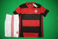Wholesale Benwon Flamenco home red black soccer kits adult s short sleeve football uniform men s thai quality sports jerseys football tracksuit