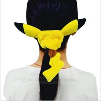 Wholesale Poke Pikachu Plush Hair Band Anime Pikachu Headdress Poke Pony Tails Holder Hair Ring Pocket Monster Soft Hair Rope Cartoon Hair Jewelry