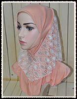 Wholesale A009 New styles Mix colors Fashion Lace Kids Hijabs per dozen Lace Children Jilbabs Ice Silk Child Caps