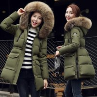 Wholesale army green women Down Parkas winter warm outerwear clothes women long design big size fur collar coat Hooded Duck Down jacket FS0747