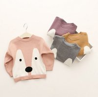 baby girl dog - 2016 Ins Boy Girls Baby Fox Dog Crochet Sweater Children Clothing Spring Fall Cartoon Pullower Kids Sewaters K7743