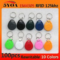 100pcs em4305 Copiar Reescribible Escritura Reescribir Duplicar RFID Tag Proximidad ID Token Key Keyrings Anillo 125Khz Tarjeta de Acceso