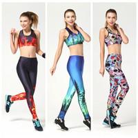 al por mayor juegos de los deportes de yoga-Mujeres Yoga Deportivo juego delgado de alta elástico mono de jogging Sportwear Gimnasio de impresión en 3D Europa apretado respirables del Conjunto de Entrenamiento LNSTZ