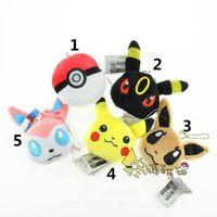 Wholesale 2 inch Poke plush pendant styles Pikachu plush toys pendant cartoon Umbreon Espeon Eevee Poke Ball Sylveon stuffed doll Xmas gifts